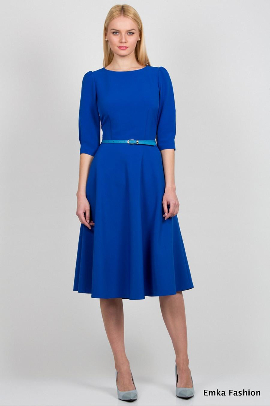 Платье до колен синее с цветами