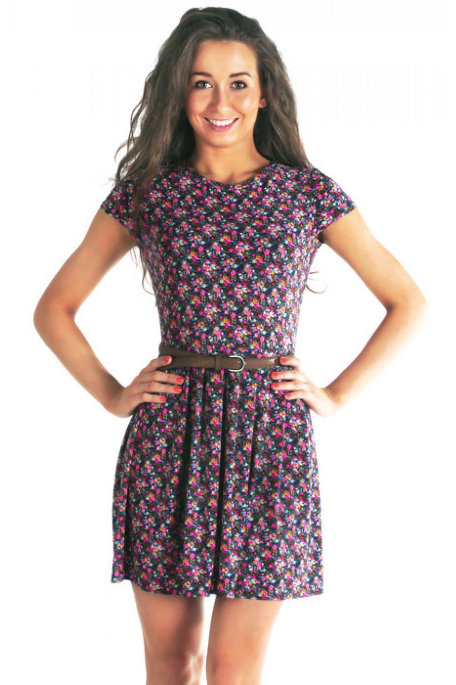 Трикотажное платье в цветочек